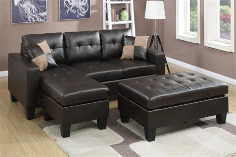 Leather Sectional And Ottoman by Poundex Cantor F6927 Brown Leather Sectional Sofa And