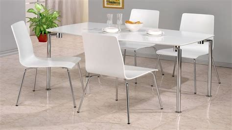 Gloss White Dining Table And Chairs White High Gloss Dining Table And 4 Chairs Homegenies