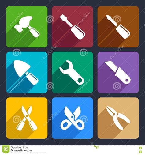 working tools flat icon set stock vector image 40282698 working tools flat icon set 12 royalty free stock images