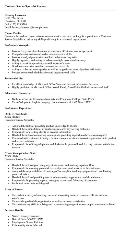 customer service specialist resume sles driverlayer