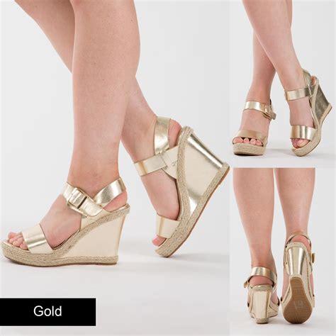 Wedges Mute Gold Size 36 40 Kemiripan 98 Ringan Dan Nyaman womens platform wedges high heel ankle sandal