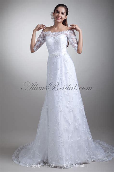 Brautkleid Mittellang by Allens Bridal Lace The Shoulder Neckline Chapel