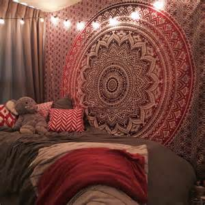 Yellow Valance Maroon Floral Ombre Mandala Wall Tapestry Bedding Beach