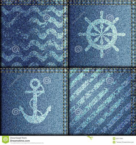 Patchwork Denim Fabric - patchwork of denim fabric in marine style stock vector