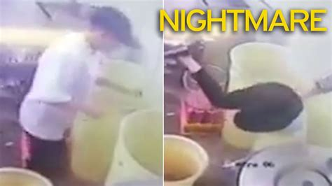 Stuck Shop by Cctv Captures Hilarious Moment Chip Shop Worker Gets
