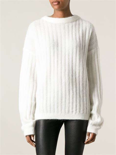 Sweater White Lyst Acne Studios Ribbed Sweater In White