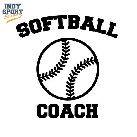 Color Combination With Black by Softball Coach Text With Silhouette Ball Car Stickers