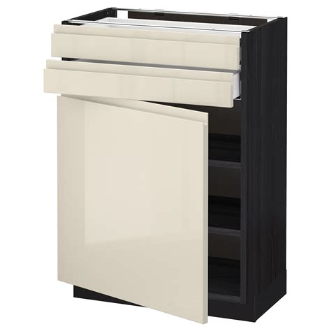 Ikea High Gloss Kitchen Cabinet Doors Metod Maximera Base Cabinet W Door 2 Drawers Black Voxtorp High Gloss Light Beige 60x37 Cm Ikea