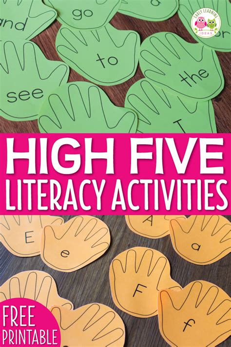 5 Letter Words Using Early literacy activities for editable handprint