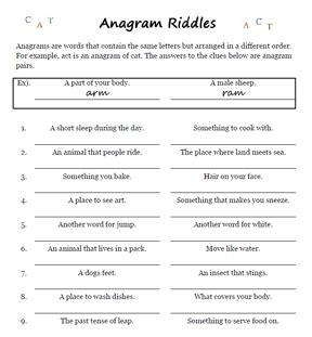 printable riddles word games anagram riddles worksheets