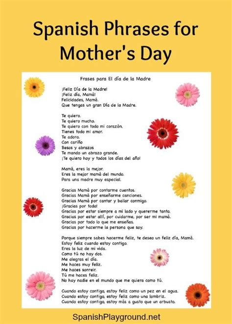 spanish mothers day poems 17 best images about holidays on pinterest english