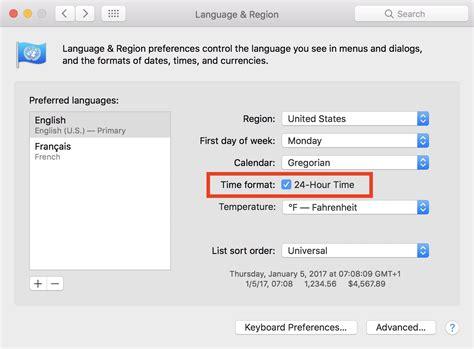 change  calendar app   hour clock time format  mac