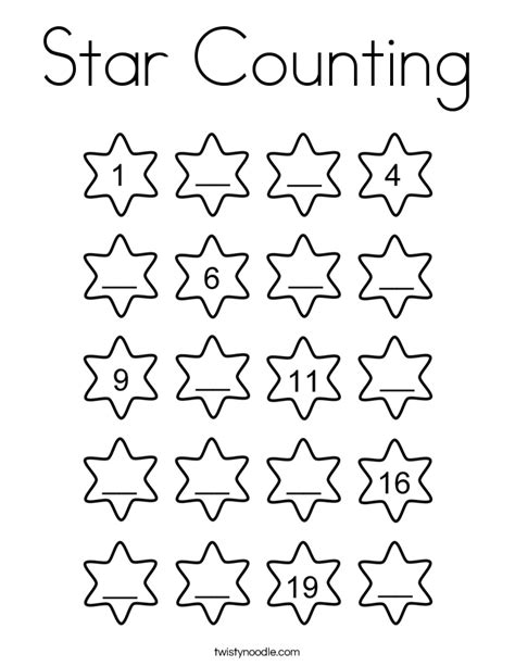 Star Counting Coloring Page Twisty Noodle Counting Coloring Pages
