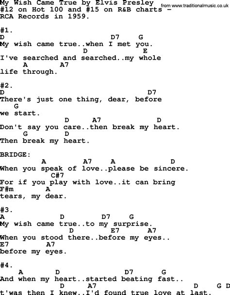 wish song my wish came true by elvis lyrics and chords