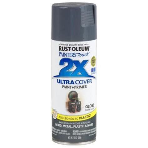 rust oleum painter s touch 2x 12 oz gloss gray general purpose spray paint 249115 the