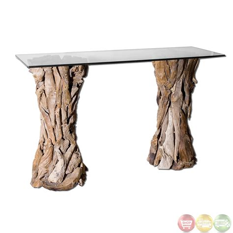 teak root console table teak root glass top house console table 25582