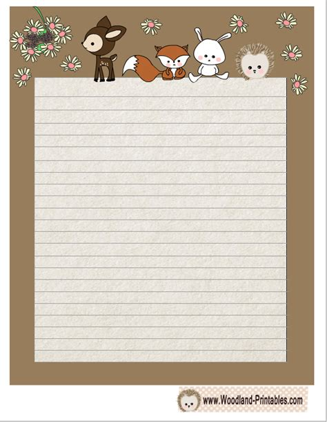 printable lined paper with animal border free printable cute woodland animals writing paper