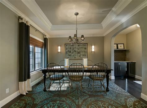 Gray Dining Room With Tray Ceiling What Do I Do With My Ceilings Haran Homes