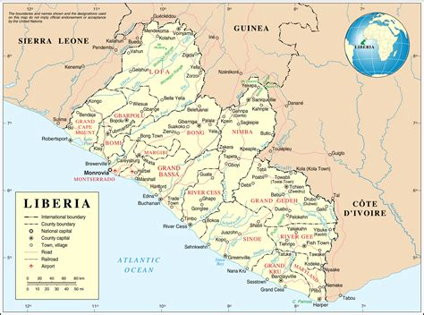 liberia map detailed political and administrative map of liberia with all cities roads and airports