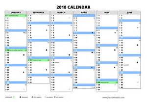 Calendar 2018 With Week Numbers Excel 2018 Calendar Free Calendars