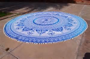 100 Cotton Rugs Long Leafs Pom Pom Ombre Round Mandala Beach Towel