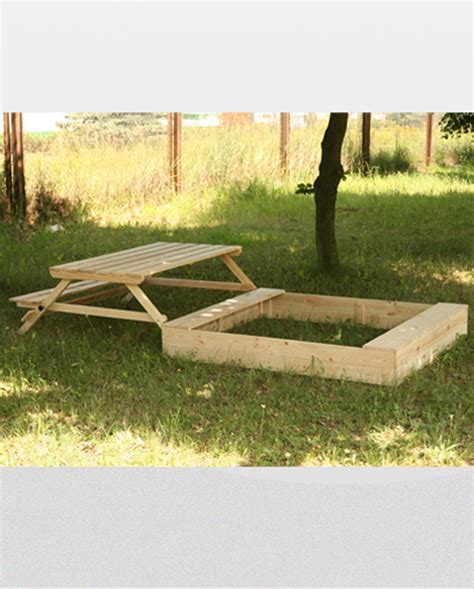 wooden sandbox with bench sandpit p 15 47x250x120 wooden sandbox with table bench