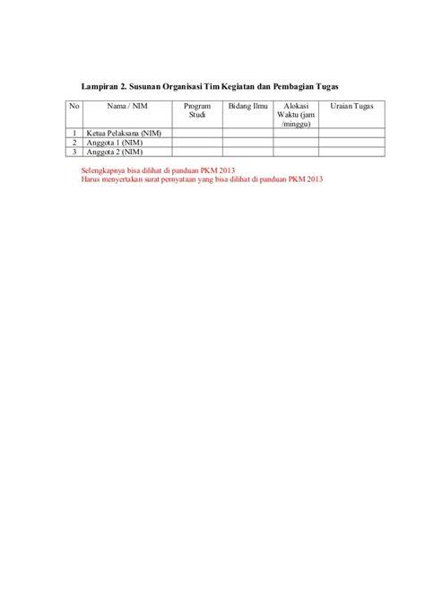 format proposal kewirausahaan contoh format pkm 2013