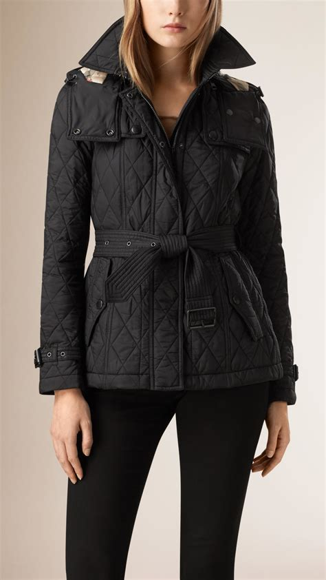 Burberry Black Quilted Jacket by Burberry Quilted Jacket With Detachable In
