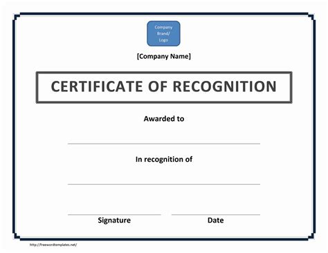 Certificate Of Recognition Word Template certificate of recognition
