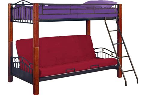 Wooden Bunk Beds With Futon Metal Futon Bunk Bed Lancelot Wood And Metal Bunk The Futon Shop