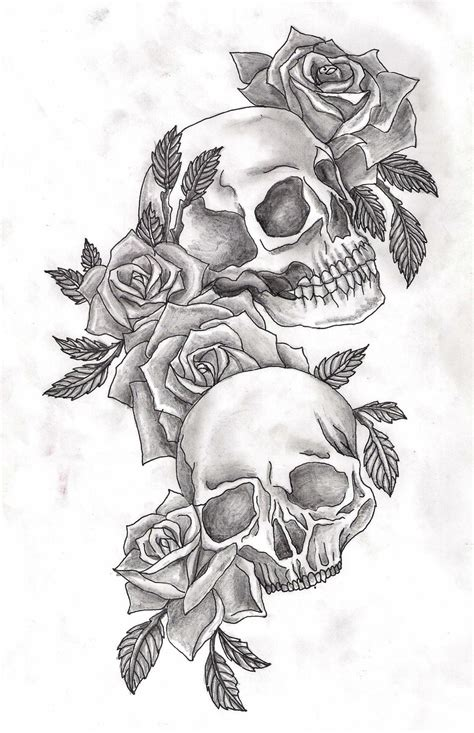roses around skull tattoo design real photo pictures