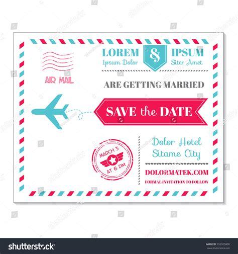 theme post template wedding invitation card vintage postcard airmail stock
