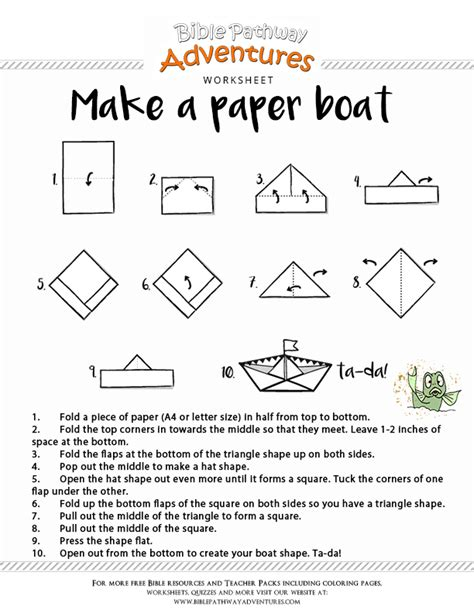 how to make a paper boat printable bible craft make a paper boat free download