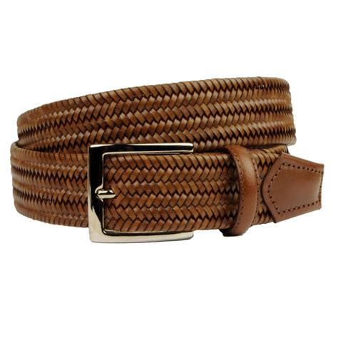 braided elastic leather belt brown brucle