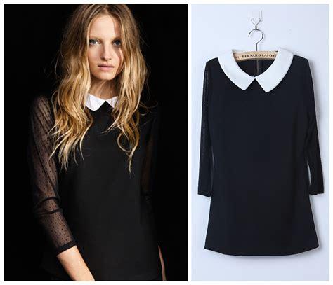 Womens Black Blouse With White Collar january 2015 custom shirt