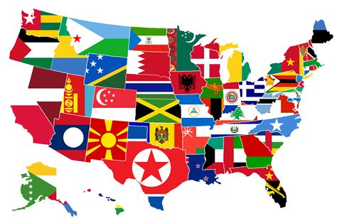 all flags map us states as countries of equal population