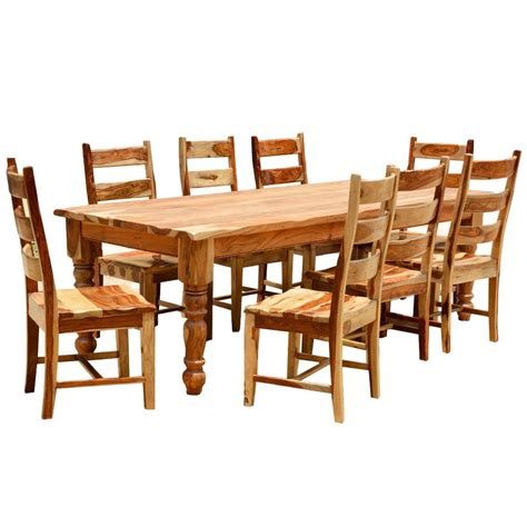 rustic solid wood farmhouse dining room table chair set