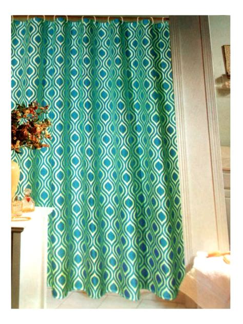 teal fabric shower curtain geometric teal fabric shower curtain