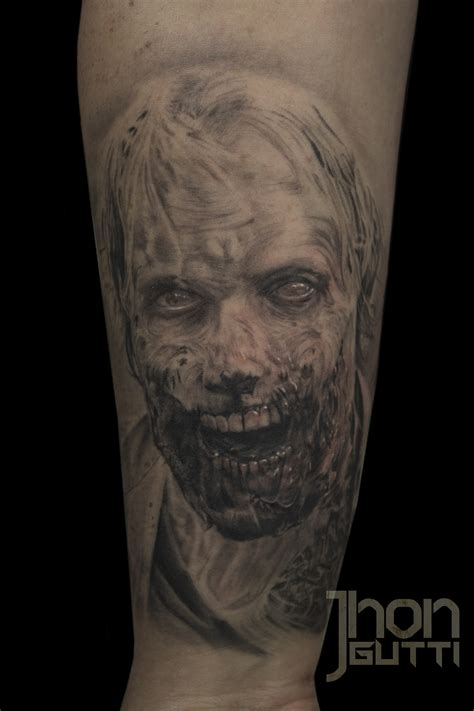 black and grey zombie tattoo certified artist