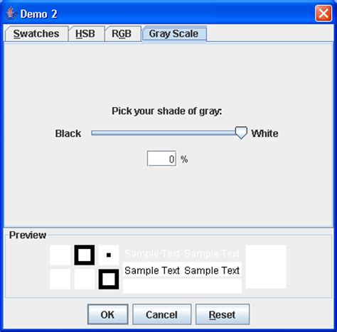 java swing tab choose foreground or background color color chooser