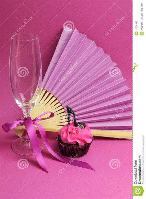 high heel birthday decorations pink decorations with fan chagne glass and high