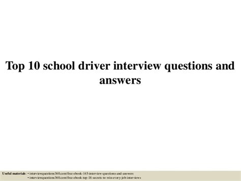 top 10 school driver questions and answers
