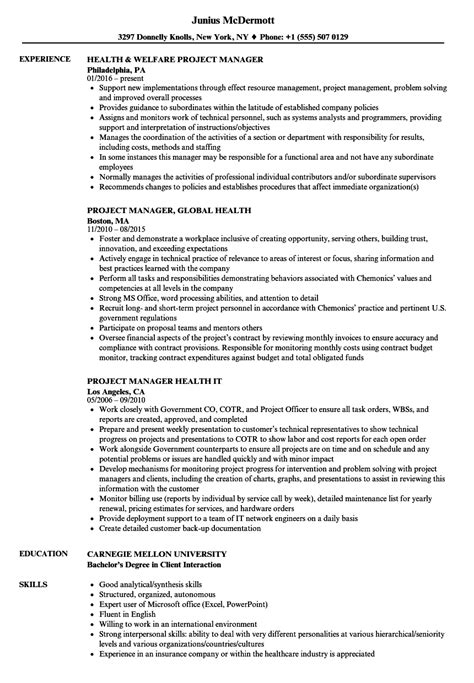 health project manager resume sles velvet