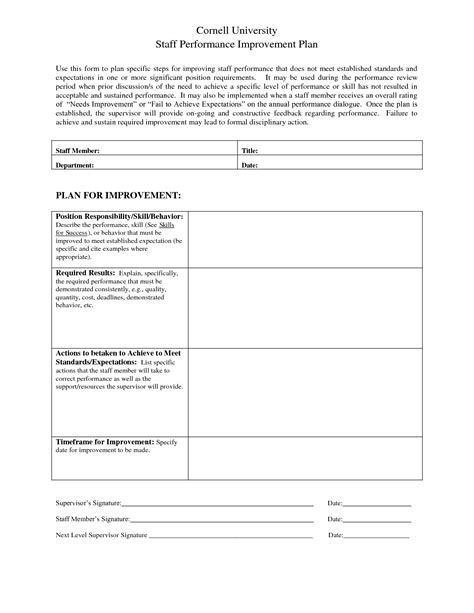 staff establishment template staff performance improvement plan template sle