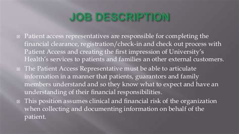 health patient access department