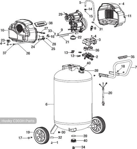 husky 30 gallon air compressor c303h 175 psi parts