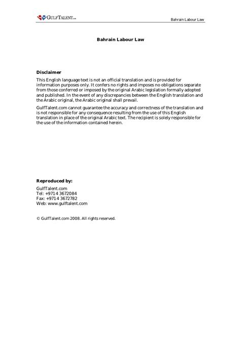 Offer Letter Format Bahrain Bahrain Labour
