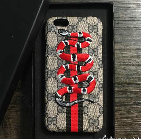 buy wholesale gucci pattern embroidery snake leather back cover for iphone 8 plus