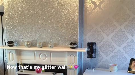 Decorating My Living Room! Glittery Fireplace Wall   YouTube