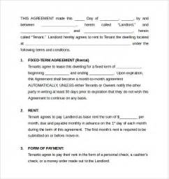 rental house agreement template sle monthly rental agreement 6 documents in word pdf